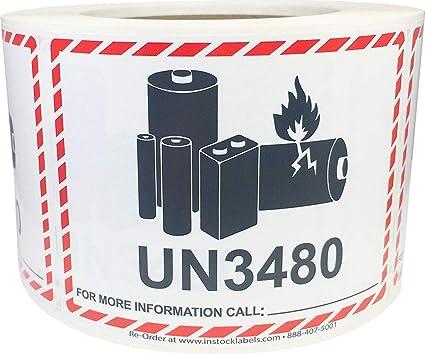 UN3480 Etiquetas de batería de litio de precaución 3.25 x 4.25 ...