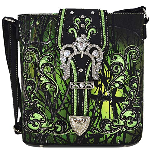 Camouflage Rhinestone Western Cross Body Handbags Concealed Carry Purse Country Women Single Shoulder Bag (#2 Buckle Green)