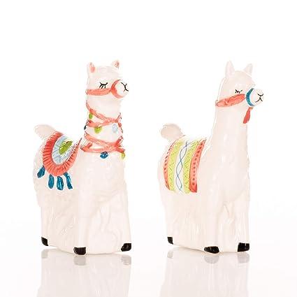 Llama Love Classic - Juego de salero y pimentero de cerámica 4 x 3 cm diseño de dolomita de San Valentín