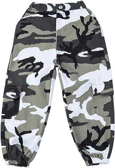 Lolanta Pantalones Cargo De Camuflaje Para Ninas Pantalones De Moda Streetwear De Cintura Alta Para Adolescentes Corte Holgado Amazon Es Ropa Y Accesorios