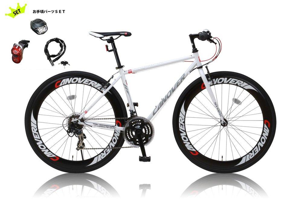 CANOVER(カノーバー) SHIMANO(シマノ) クロスバイク アルミリム 男女兼用(重量14.3kg 身長155cm以上 サイズ450mm) 21段変速 【シリコンライトチェーンリック(鍵)リアライト3点セット】 CAC-025 NYMPH(ニンフ)ホワイト B012VS493W