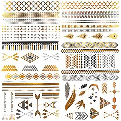 COKOHAPPY 6 Sheets Jewelry Temporary Tattoo , Arm Band Diamond Feather Bird Arrow Flash Metallic Tattoo in Gold Silver , Easy to Apply and Long Lasting for Women