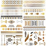 COKOHAPPY Bride & Bachelorette Party Tattoos , 6 Sheets of Arm Band Diamond Feather Bird Arrow Flash Metallic Tattoo in Gold Silver , Easy to Apply and Long Lasting offers