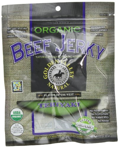 Golden Valley Natural Beef Jerky - Golden Valley Natural Organic Beef Jerky, Teriyaki, 3-Ounce Pouches (Pack of 8)