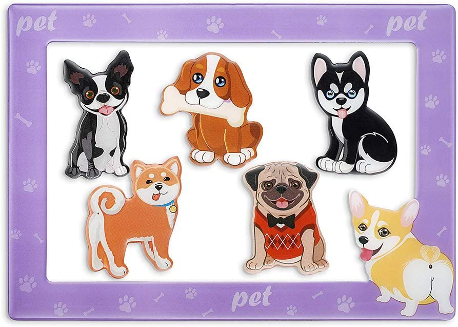 Morcart Cute Dog Fridge Magnets Magnetic Photo Frame 6 Packs Set Decoration for Whiteboard Lockers Office Best Gift Kids Adults