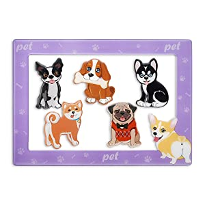 Morcart Cute Dog Magnets And 4x6 Inches Magnetic Photo Frame 6 Pcak Pet Puppy Fridge Magnets Set Decoration for Fridge Home classroom Office,Best Gift Choice