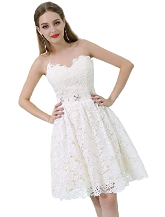351c4ff957a Maricopyjam Women s Fitted Flare A-Line Short Flower Lace Homecoming Dress  with Crystals Waistband at Amazon Women s Clothing store