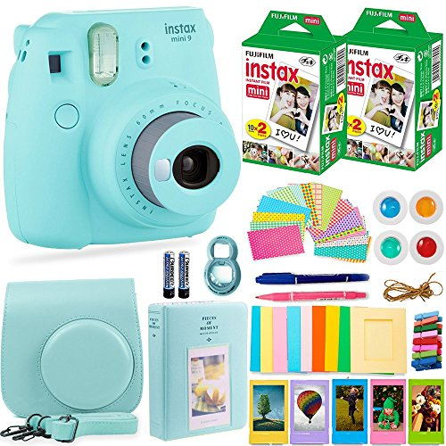 Smartphone Accessory Bundle Kit (Fujifilm Instax Mini 9 Instant Camera + Fuji Instax Film (40 Sheets) + Accessories Bundle - Carrying Case, Color Filters, 2 Photo Albums, Assorted Frames, Selfie Lens + MORE (Ice Blue))