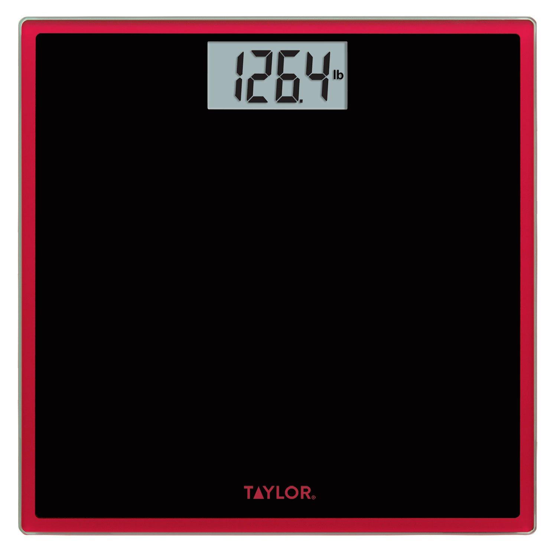 Taylor Digital Glass Bathroom Scale (Black w/ Red Trim)