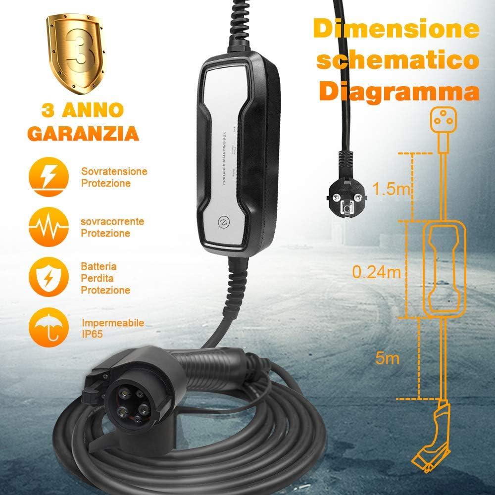 7m 22.9ft BESENERGY Tipo 1 Cargadores de Coches electricos EV Cargador est/ándar Europeo Schuko 2 Pin ev Cable de Carga 16A Caja de Carga J1772 3.6kw