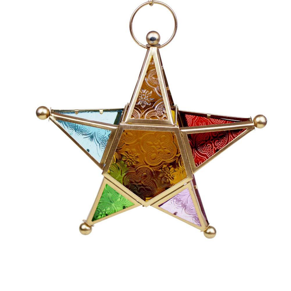 Hiyes Lanterne /à Suspendre en Forme d/étoile /à Cinq Branches Style marocain Fer Noir 19/×19/×6cm