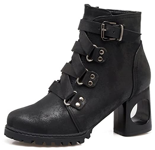 Women's Strappy Round Toe Inside Zip Up Ankle Boots Punk Chunky High Heel Booties With Zipper