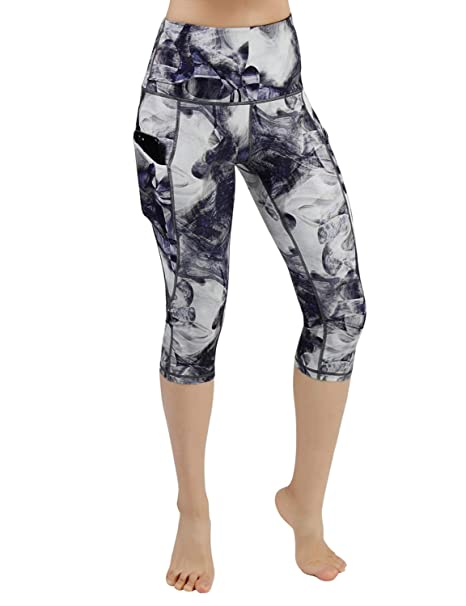 63914bf145c2 ODODOS High Waist Out Pocket Printed Yoga Capris Pants Tummy Control ...