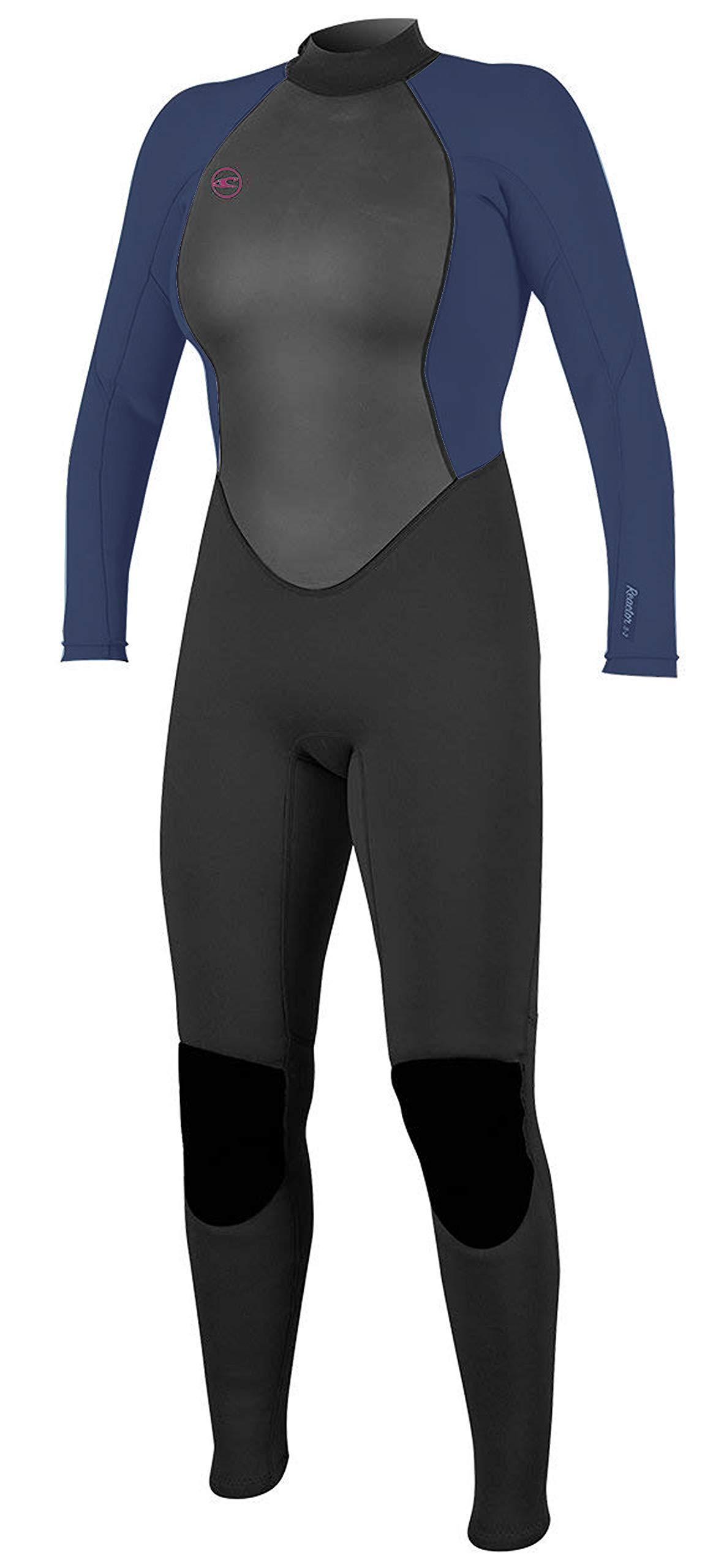 O'Neill Women's Reactor-2 3/2mm Back Zip Full Wetsuit, BLK/Slate, 4