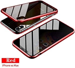 Brandless Suitable for Apple iPhone Privacy Phone case, Second Generation Double-Sided Glass Magneto Report (red, iPhone 11 pro)