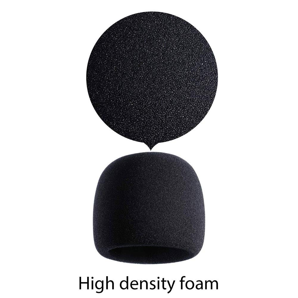 schicj133mm Microphone Cover Windscreen Windshield Ball-Type,Thickening Replacement Headset Mic Cover Soft Foam Black
