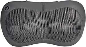 Shiatsu Back, Neck and Shoulder Massager with Heat   Deep Kneading   Cordless Massager Up to 2 Hours On-The-Go Relief   Brookstone