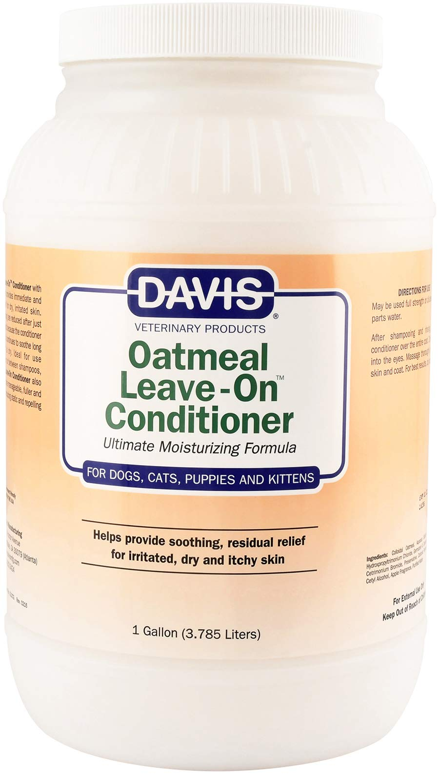Davis Oatmeal Leave-On Dog and Cat Conditioner, 1-Gallon
