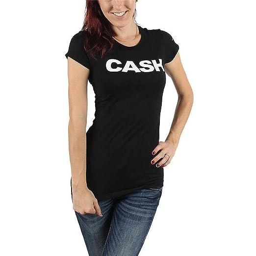 b98c34f21 Amazon.com: ill Rock Merch Johnny Cash Block Junior Women's T-Shirt ...