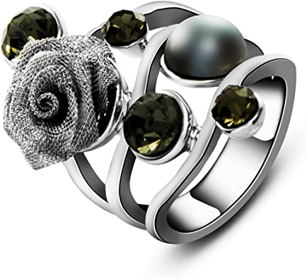 Stainless Steel 2 Color Black Enameled Star Flower Oval Cocktail Dome Ring