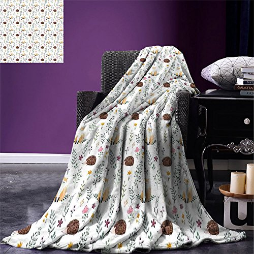 smallbeefly Forest Throw Blanket Rural Wildlife Pattern with Hedgehog and Baby Fox in Watercolors Kids Nature Theme Warm Microfiber All Season Blanket for Bed or Couch Multicolor