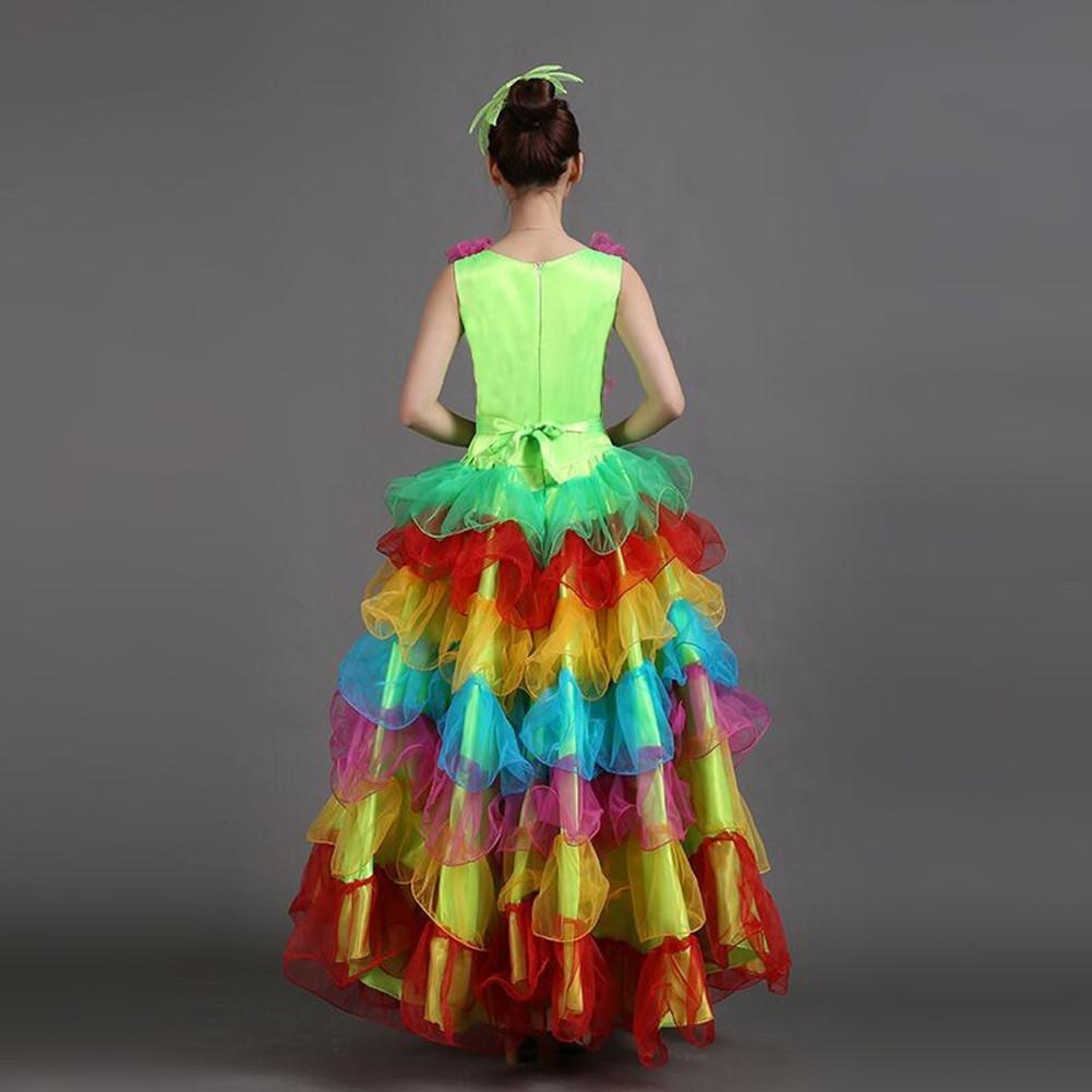 Wgwioo Frauen Flamenco Kleid 180 180 180 360 540 720 DeGrün Ärmellos Bunte Rock Eröffnung Tanzen Big Swing Spanische Performance Chorus B072DRRT9D Bekleidung Elegant und feierlich fc5dcf