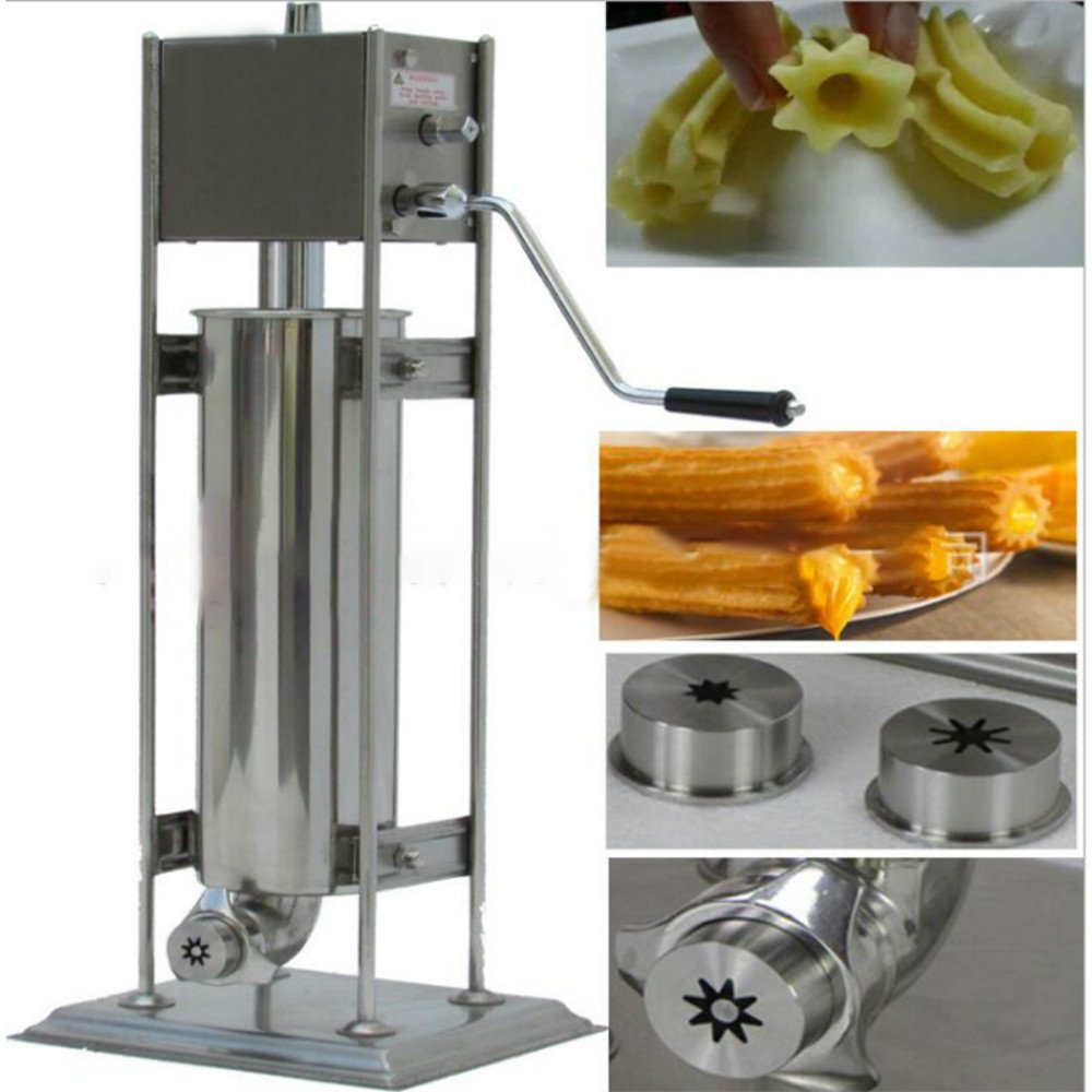 Zorvo Commercial Manual Churro Maker Machine For Restaurant Churro Filler Machine Stainless Steel Hand Crank Horizontal Churro Machine Maker Deep Fryer for Mexican Churros, Churreria