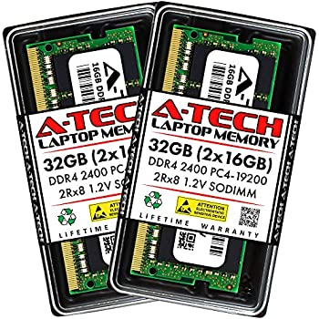 Image of A-Tech 32GB Kit (2x16GB) DDR4 2400 MHz SODIMM 260-Pin PC4-19200 2Rx8 1.2V CL17 Notebook Laptop RAM Computer Memory Upgrade Modules Memory
