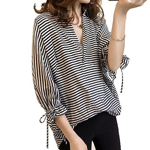 振り子歌手アカウントTAOHUA レディース ファッション 春 夏 シャツ 九分袖 カジュアル ストライプ 個性 大きいサイズ S~3XL