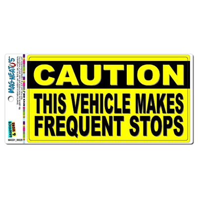 Graphics and More Caution Vehicle Makes Frequent Stops - Sign Automotive Car Refrigerator Locker Vinyl Magnet: Automotive