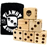 """Set of 6 Lawn Bones 3.5"""" Jumbo Pine Wood Dice with Carry Bag and Games Insert by Brybelly"""