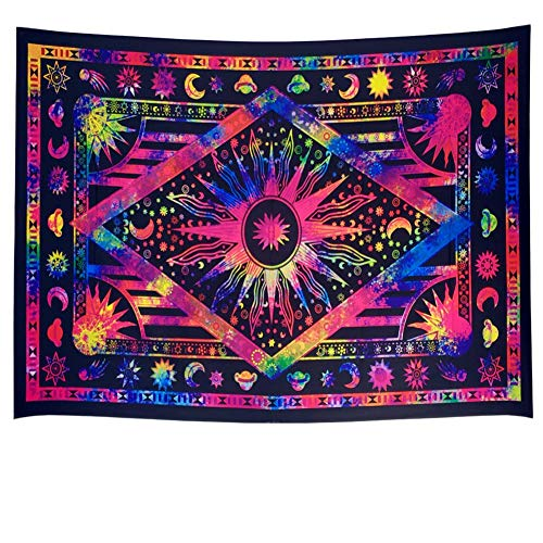 COLORFULSKY Twin Purple Tie Dye Tapestry Burning Sun Tapestry Wall Hanging Psychedelic Celestial Sun and Moon with Planet Bohemian Tapestry Hippie Hippy Boho Tapestry Galaxy Mandala Tapestry ()