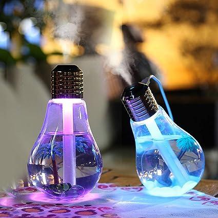 LE041 - Humidificador con diseño de bombilla, USB, LED, humidificador ultrasónico purificador de 400 ml con luces ...
