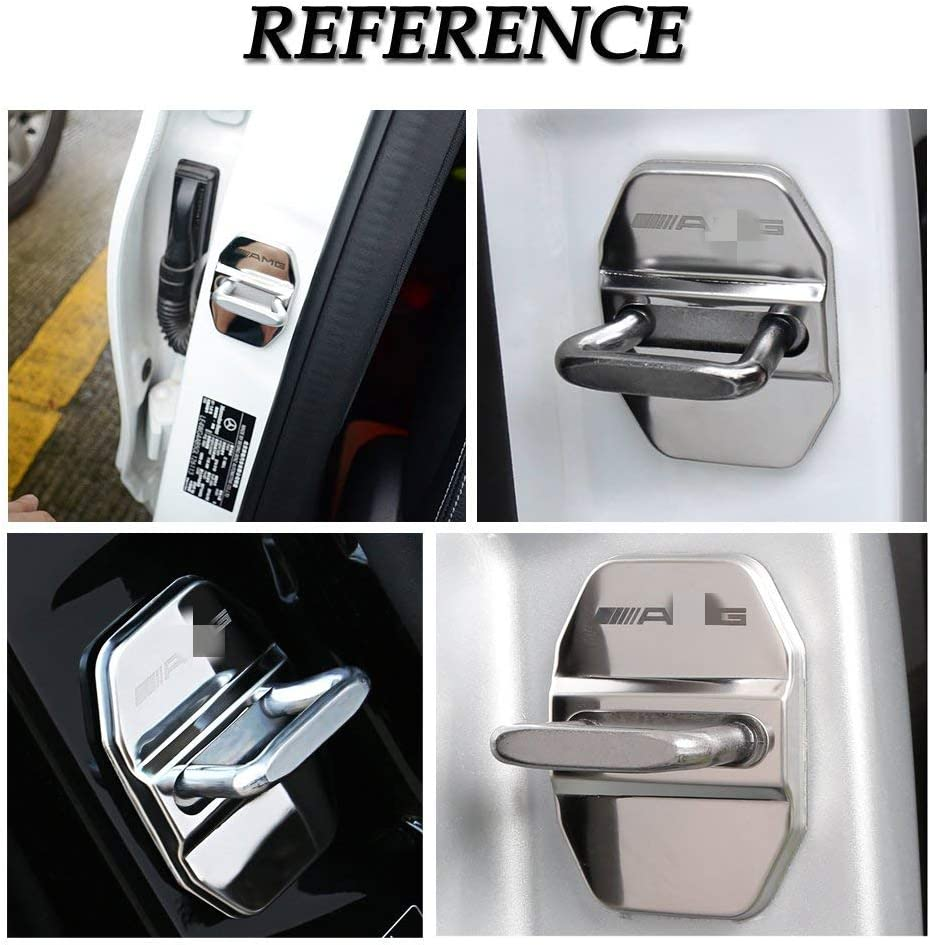 4Packs//Set Mercedes Silver Wonderfulhz Stainless Steel Car Door Lock Latches Cover Protector Compatible with 2019 2020 Mercedes Benz C E S GLA GLC GLE CLS