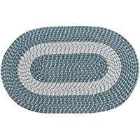 Braided Rug, Traditional Rustic Reversible Oval Braided Accent Rug 20Wx30L, Washable Braided Indoor Outdoor Area Rug Floor Carpet For High Traffic Areas (Blue)