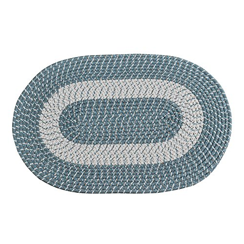Wool Blue Braided Rug - Braided Rug, Traditional Rustic Reversible Oval Braided Accent Rug 20''Wx30''L, Washable Braided Indoor Outdoor Area Rug Floor Carpet for High Traffic Areas (Blue)
