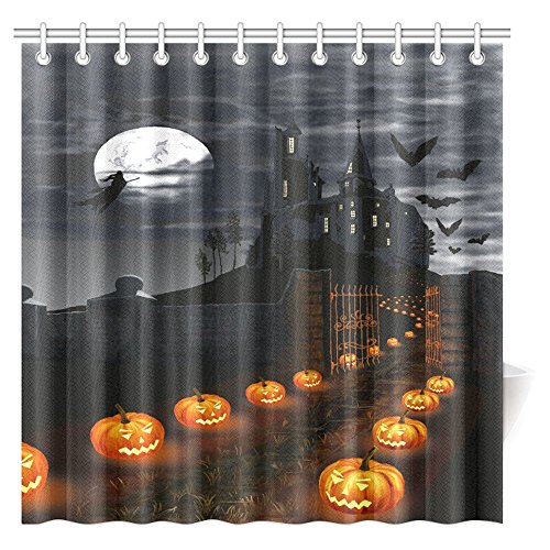 INTERESTPRINT Creative Halloween Castle with Pumpkins Shower Curtain, Witch Flying in Full Moon Night Bathroom Shower Curtain with Hooks, 72 X 72 Inches Extra Long -