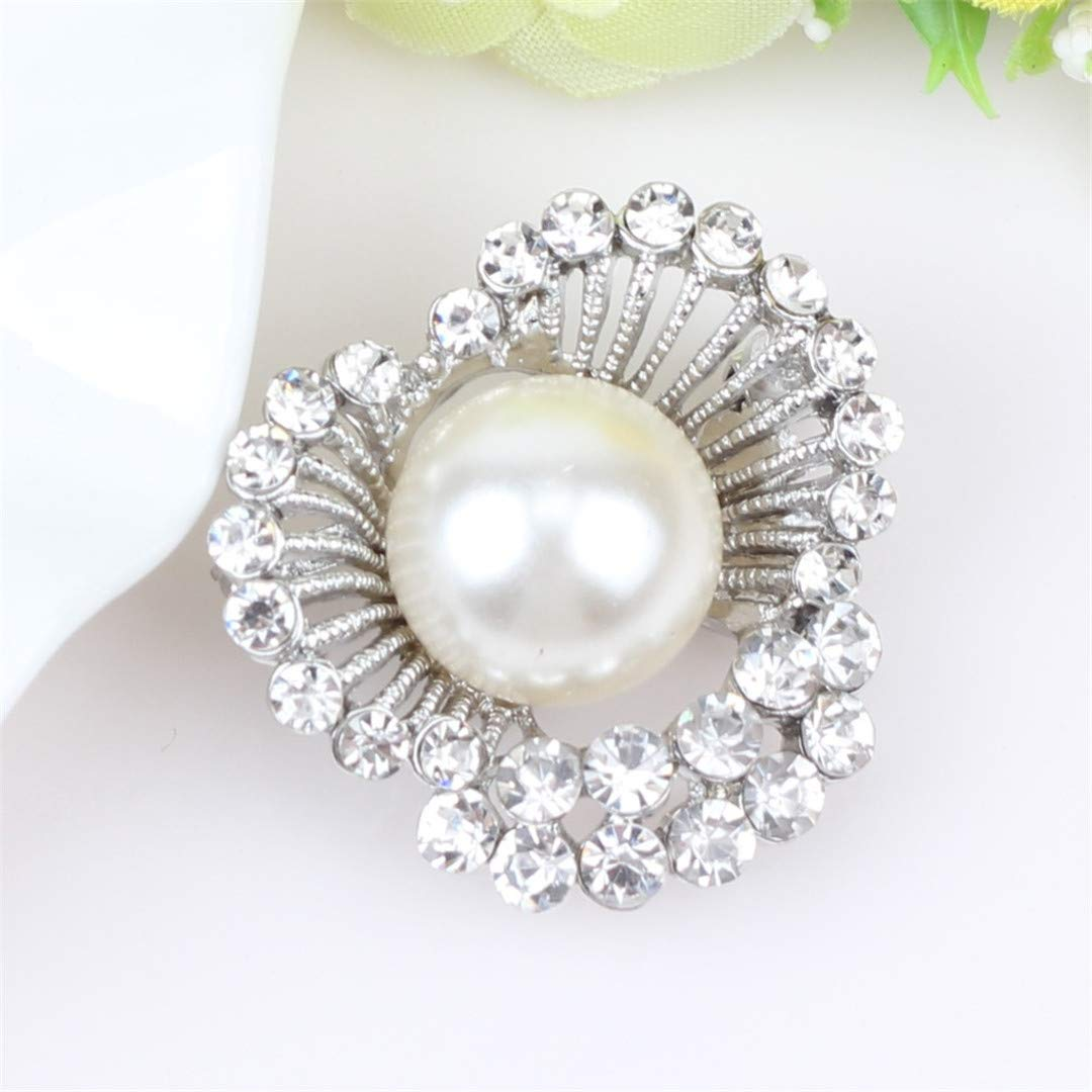 Jaielsye Alloy Rhinestone Pearl Heart Brooches Scarf Clothes Decoration Pin for Women Girls Novelty Jewelry Accessories