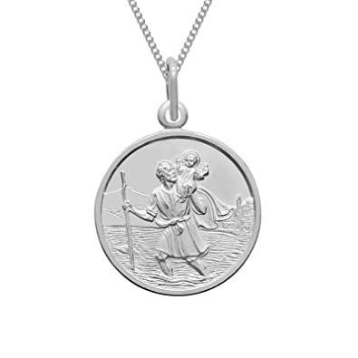 Sterling Silver St Christopher Heart Locket with 18