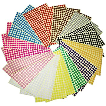 LJY 8mm Round Dot Stickers Color Coding Labels 12 Different Assorted Colors 24 Sheets