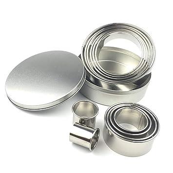 Molde para horno, 12 moldes redondos de acero inoxidable para galletas y galletas, molde para hornear: Amazon.es: Hogar