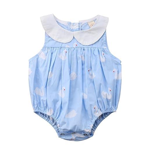 fcb61ec3db65 Mornbaby Infant Baby Girl Plaid Romper Outfit Newborn Girls Sleeveless  Bodysuit Princess Summer Clothes (Swan