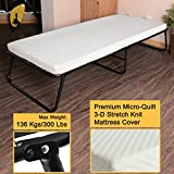 300lbs Max Weight Capacity Quictent Heavy durable Steel Frame folding bed for adult with Comfortable Soft Micro-Quilt 3D Stretch Knit Mattress Cover and Bonus Storage Bag (75x31x14, White Mattress)