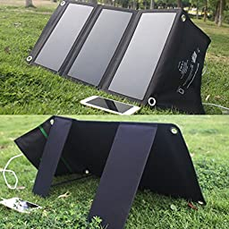 ZEEFO 21W Solar Charger With SunPower Portable and Foldable Solar Panels, Solar Battery Chargers with 2-Port USB High- Efficiency solar Panel For Mobile Devices outdoor for Travel, Camping, Hiking