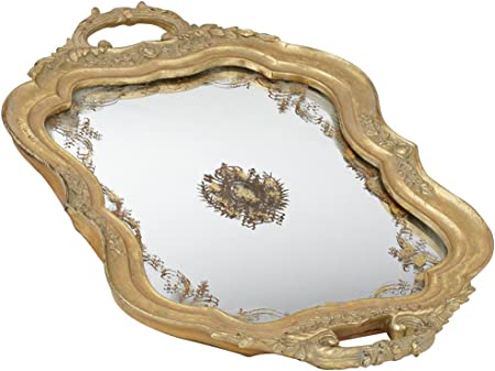 Antique Gold Mirrored Tray With Handles Amazon Co Uk Kitchen Home