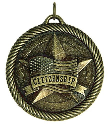 Hammond & Stephens Multi-Level Dovetail/Citizenship Value Medal, 2 in, Solid Die Cast, Bronze