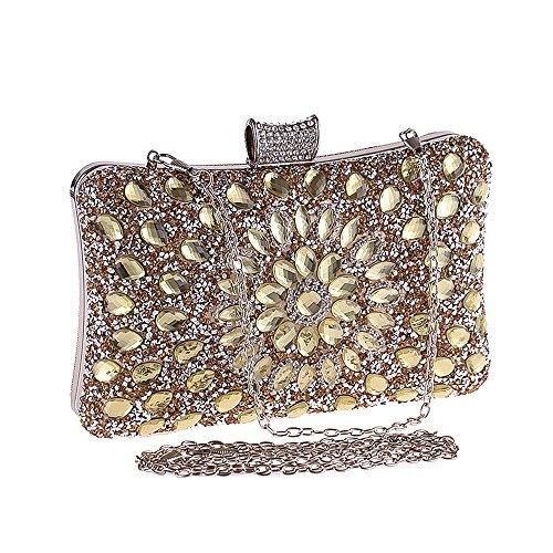 Ya Jin Damen Sparkling Abend Clutch Bag Strass Glitter Geldbörse Tasche Schöne Party Prom Handtasche Gold be9BrIf