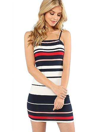 7e8e2f991b5a Milumia Cami Dress Summer Bodycon Spaghetti Strap Striped Cocktail Club  Evening Party Trendy XS
