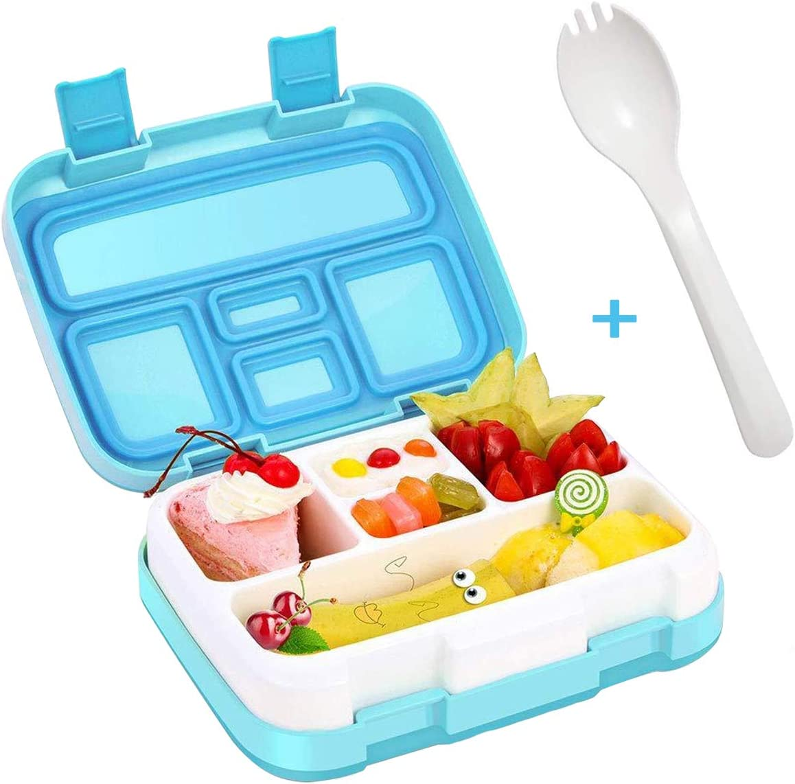 Lunch Box for Kids Bento Box BPA-Free Upgraded School Lunch Container with Spoon 5-Compartment Leak Proof Durable, School,Picnics,Travel Meal and Snack Packing Food Storage Container(Blue)