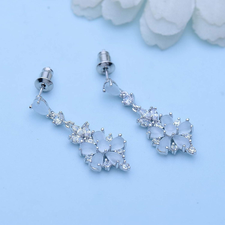 Sterling Silver Jewelry By CS-DB Milky WaterDrop Flower Sweet Romantic Christmas Leaf Round Clear CZ Stud Earrings